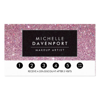 Classic Pink Glitter Salon Loyalty Punch Card Pack Of Standard Business Cards