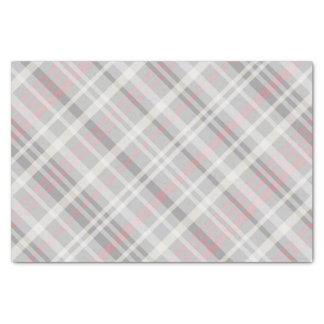 classic pink gray white plaid tissue paper