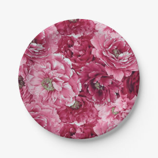 Classic Pink Peonies Clusters Floral Paper Plates