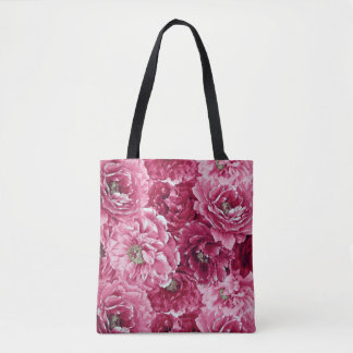 Classic Pink Peonies Clusters Tote Bag