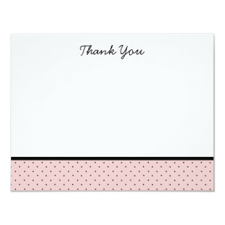 "Classic Pink Polka Dot Thank You Note Cards 4.25"" X 5.5"" Invitation Card"