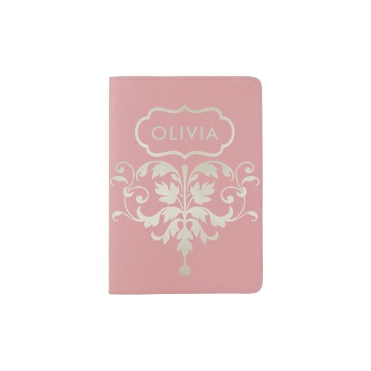 CLASSIC PINK SILVER LEATHER DAMASK MONOGRAM PASSPORT HOLDER