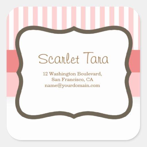 Classic Pink Stripes Label Square Sticker