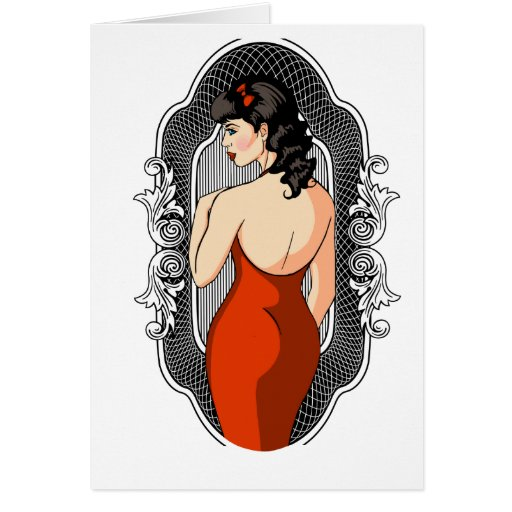 Classic Pinup Girl In Slinky Red Dress Greeting Cards