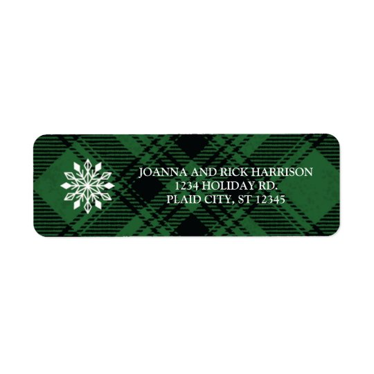 Classic Plaid Holiday Address Label