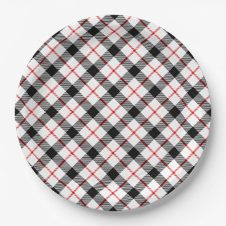 Classic Plaid Red Black White Holiday Paper Plate