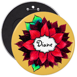CLASSIC POINSETTIA in RED 6 Cm Round Badge