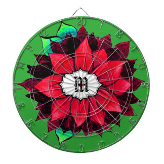 CLASSIC POINSETTIA in RED Dartboard With Darts