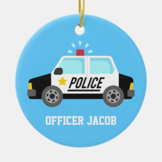 Classic  Police Car with Siren For Boys Room Christmas Ornament