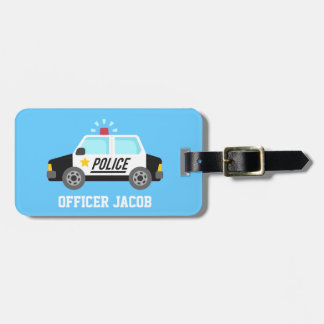 Classic Police Car with Siren For Kids Luggage Tag