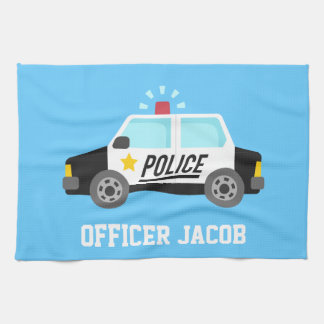 Classic Police Car with Siren For Kids Tea Towel