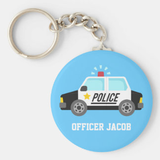 Classic Police Car with Siren Name Key Ring