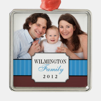 Classic portrait blue stripe band Christmas photo Christmas Ornament