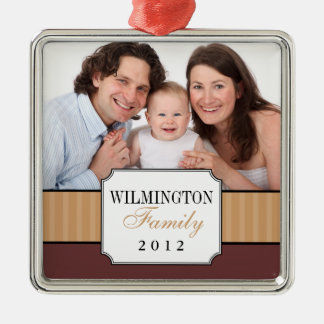 Classic portrait brown stripe band Christmas photo Christmas Ornament