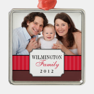 Classic portrait red stripe band Christmas photo Christmas Ornament