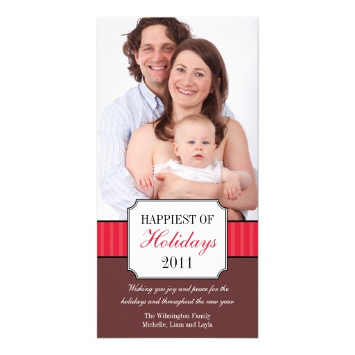 Classic portrait red stripe band Christmas photo Photo Greeting Card