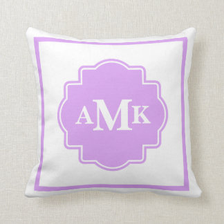 Classic Purple and White Monogram Pillow