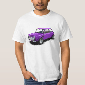 Classic Purple Mini Car on White T-Shirt