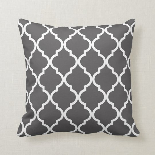 Classic Quatrefoil Pattern Charcoal and White Throw Pillow