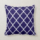 Classic Quatrefoil Pattern Cobalt Blue and White Cushion