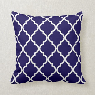 Classic Quatrefoil Pattern Cobalt Blue and White Throw Pillow