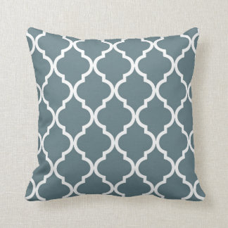 Classic Quatrefoil Pattern in Blue Grey and White Cushion