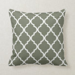 Classic Quatrefoil Pattern Olive Green and White Cushion