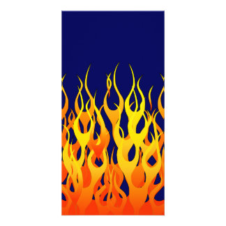 Classic Racing Flames Fire on Navy Blue Customised Photo Card