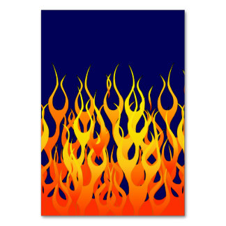 Classic Racing Flames Fire on Navy Blue Table Cards
