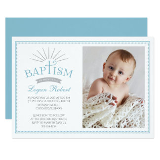 Classic Radiance Photo Baptism Invitation - Blue