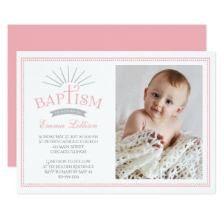 Classic Radiance Photo Baptism Invitation - Pink