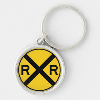 Classic Railroad Crossing Sign Vintage Silver-Colored Round Key Ring