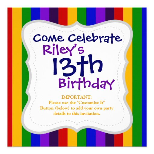 Classic Rainbow Vertical Stripes Colorful Gifts Invitation