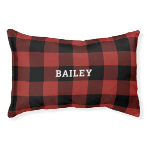 Classic Red and Black Buffalo Check Plaid Monogram Pet Bed