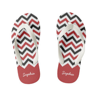 Classic Red and Black Chevron Custom Name Flip Flops