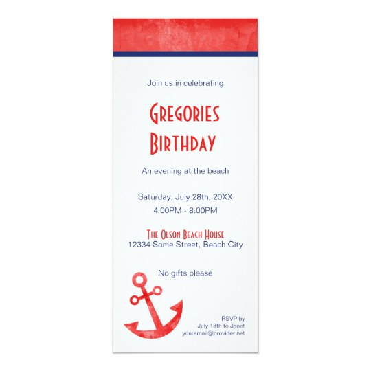 Classic Red and Blue Anchor Invitation