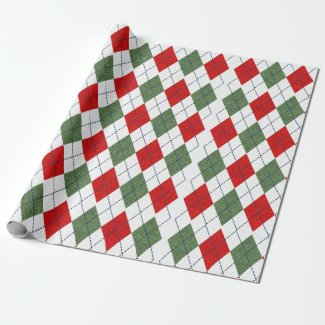 Classic Red And Green Argyle Pattern Wrapping Paper