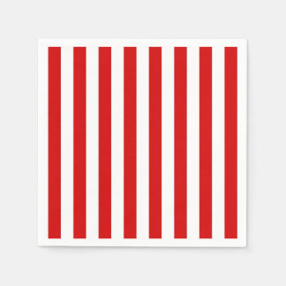 Classic Red and White Stripe Pattern Paper Napkins