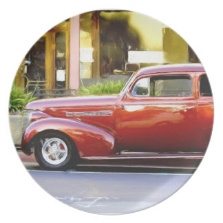 Classic red car dinner plate