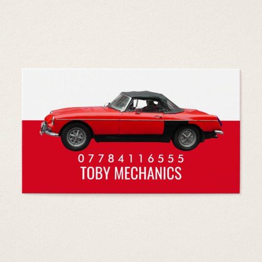 Classic Red Car, Mechanics Business Card