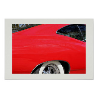 Classic Red Chevy Impala detail 1965 photo Poster