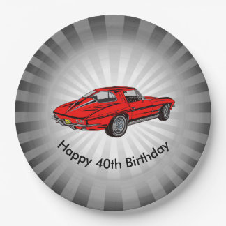 Classic Red Corvette Design Paper Party Plate 9 Inch Paper Plate
