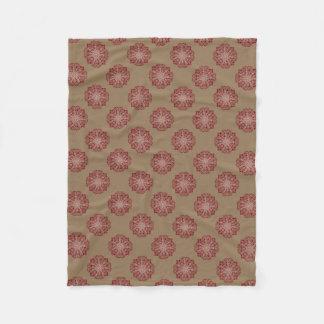 Classic red floral damask medallion fleece blanket