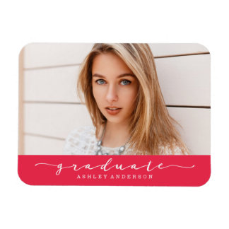 Classic Red Graduation Photo Magnet