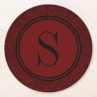 Classic Red Herringbone Monogram Round Paper Coaster
