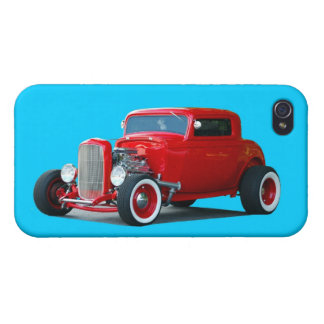 Classic Red Hot Rod Car iPhone 4 Covers