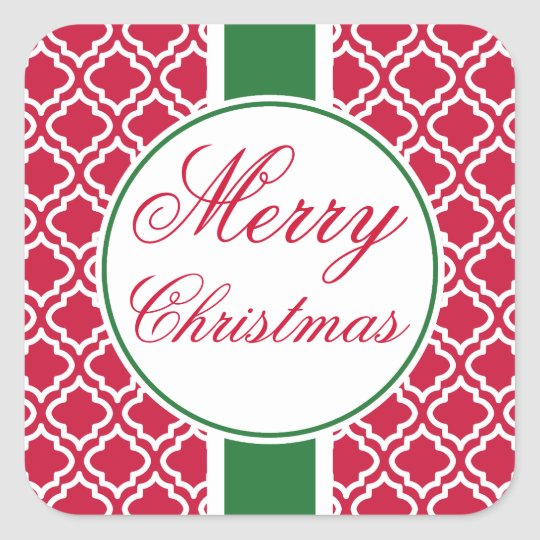 Classic Red Merry Christmas Gift Tag Stickers