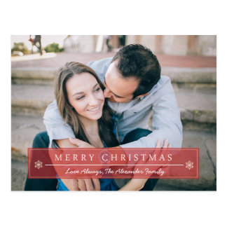 Classic Red Merry Christmas Postcard