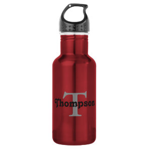 Classic Red Personalise Black Monogram Name Text 532 Ml Water Bottle