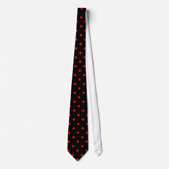 Classic Red Polka Dot Pattern on Black Tie